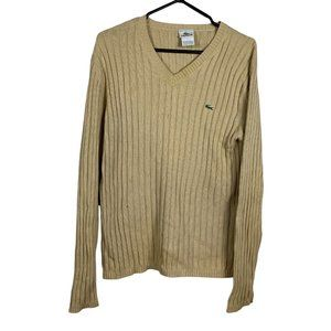 Lacoste Vintage Sweater Yellow Mens Size S Cotton Pullover Faded Aged